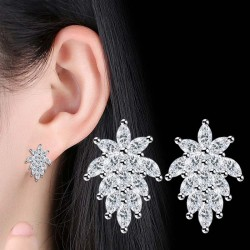 Flower Leaves Zircon Stud Earrings