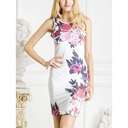 White Floral Print Cut Away Midi Bodycon Dress