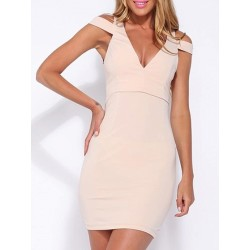 Nude Plunge Neck Cold Shoulder Cut Out Back Bodycon Dress