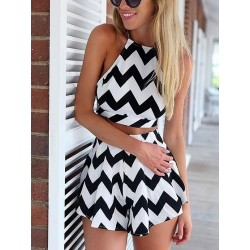 Monochrome Chevron Print Crop Top And High Waist Shorts