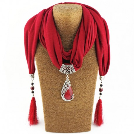 Women Scarf with Peacock Pendant