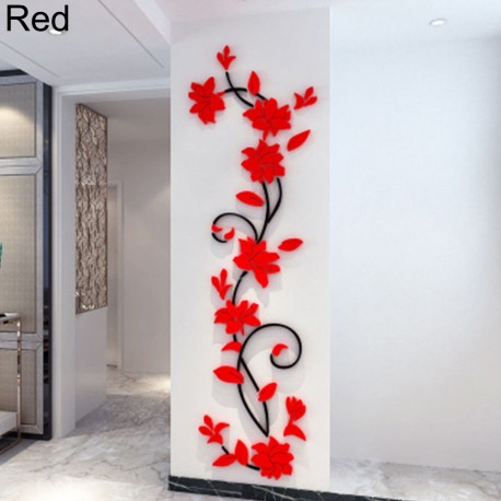 3d romantic rose flower wall sticker - lazaara