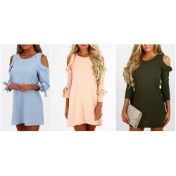 Shoulder Ruffle Mini Dress - Blouse