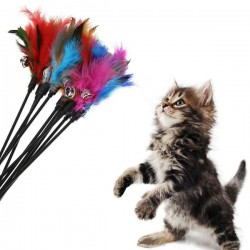 Interactive Feather-Stick Toy 5 pcs
