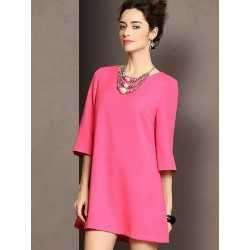 Rose Half Sleeve Shift Dress With Back Pleat