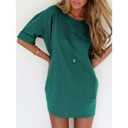 Green Half Sleeve Tee Dress