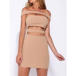 Khaki Off Shoulder Cut Out Bodycon Dress