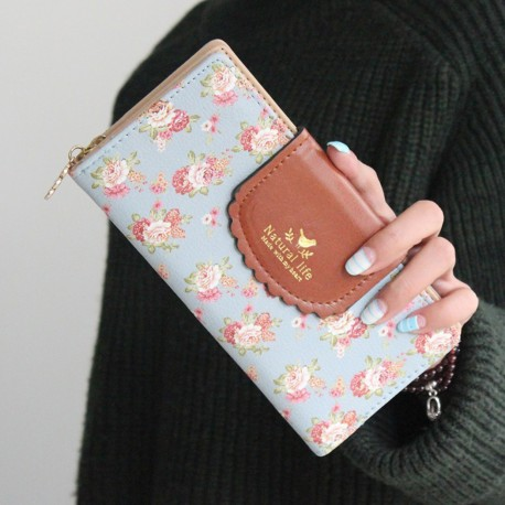Women Rural Floral Long Wallet