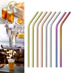 Set of 10 Stainless Steel Drinking Straws