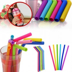 Reusable Silicone Drinking Straws Set