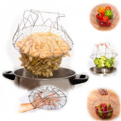 Foldable Steam Rinse Strain Chef Basket Strainer