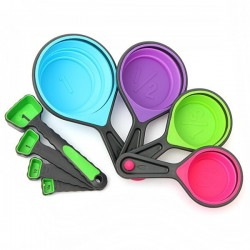 8pcs Silicone Collapsible Measuring Cups Spoons Kitchen Tool