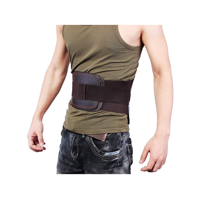 leather lumbar back support belt spine correction brace