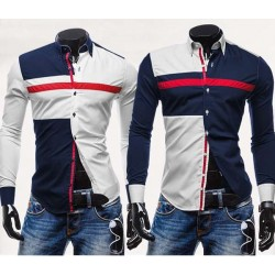 Mens Three-color Stitching Shirt