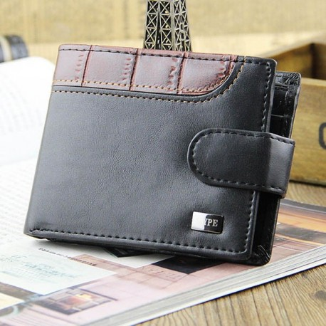 Men Snap Button PU Leather Wallet