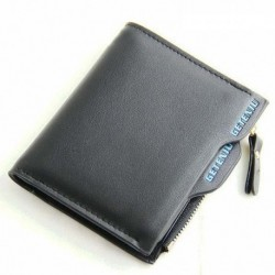 Pure Black Color Soft PU Leather Bi-Fold Zipper Business Leisure Short Wallet for Men