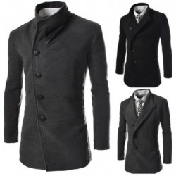 Casual Oblique Fly Placket Dust Coat Jacket Top For Men