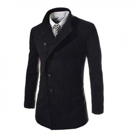 Casual Oblique Fly Placket Dust Coat Jacket Top For Men Boys
