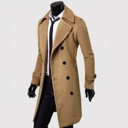 Brief Solid Color Double-breasted Long Dust Coat For Men