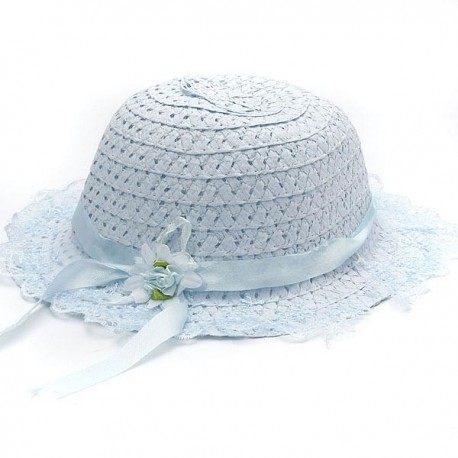 Girl Lace Flower Straw Floppy Hats 4 Colors