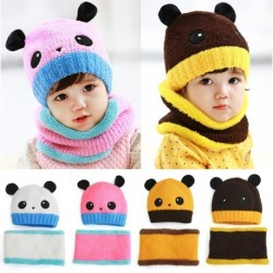Toddler Winter Panda Beanie Hat Hooded Scarf
