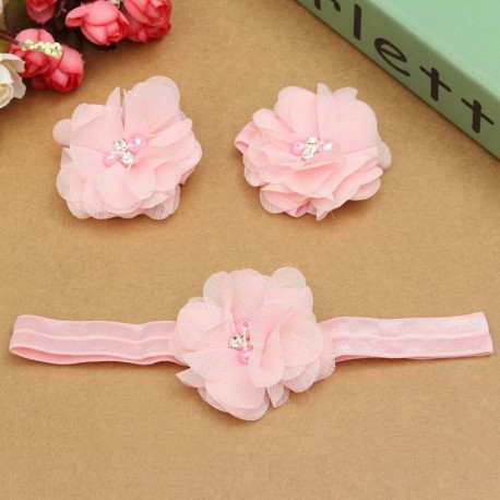 Baby Girls Head- and Foot Flower Set
