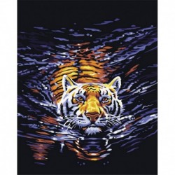 Tiger canvas digital DIY oil painting by numbers kits