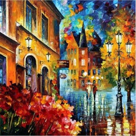 DIY Oil Painting By Numbers - Street Light Wall Decor