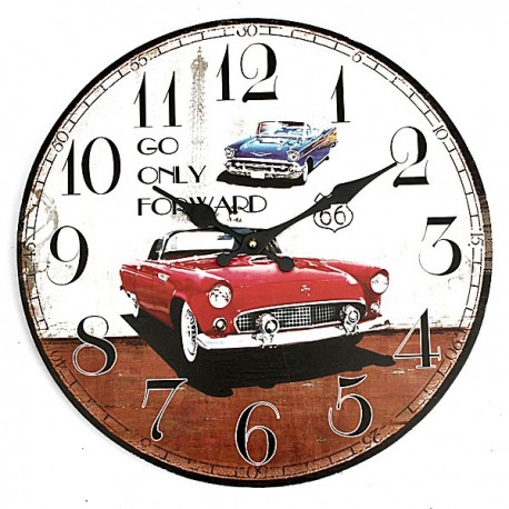 Wall Clock Car Rustic Vintage