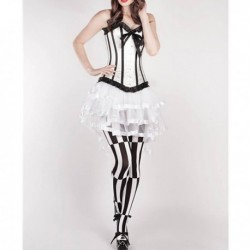White Boned Satin Lace Corset
