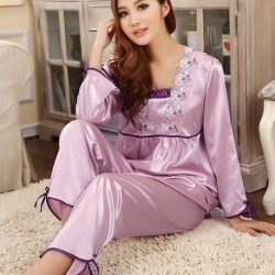 Long Sleeve Lace Silk Pajamas Suit