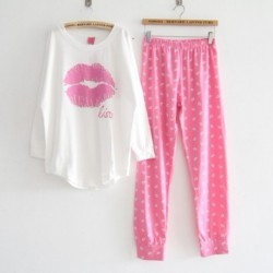 Cotton Long Sleeve Lips Sleepwear