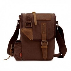 Men's Vintage Genuine Leather Canvas Leisure Shoulder Bag