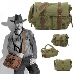 Men Canvas Leather Shoulder Bag American Style