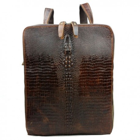 Men Multifunctional Crocodile Pattern Genuine Leather Bag