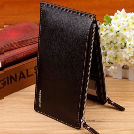 Men Double Zippers Multi-Card Holder Wallet