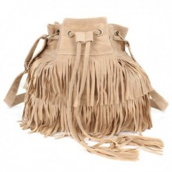Drawstring Fringe Shoulder Bags