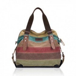 Stripe Canvas Micro-Fibric Leather Crossbody Bags