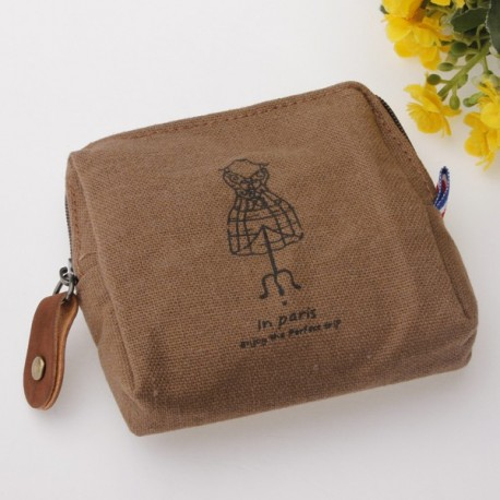 Women Canvas Coin Case Zipper Bag