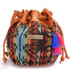 Canvas Bucket Bag Drawstring Crossbody Bag