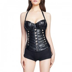 Women Halter PU Leather Overbust Waist Traning Steampunk Bustiers Corselet Girdles