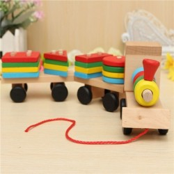 Train Toys Geometric Building Blocks