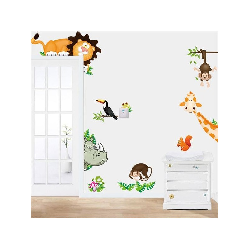 jungle zoo cartoon pvc wall stickers lazaara jungle monkey children s wall sticker set by oakdene