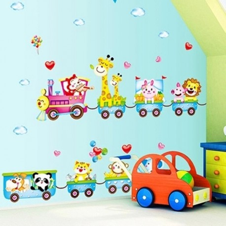 Cartoon Train Animals Wall Sticker