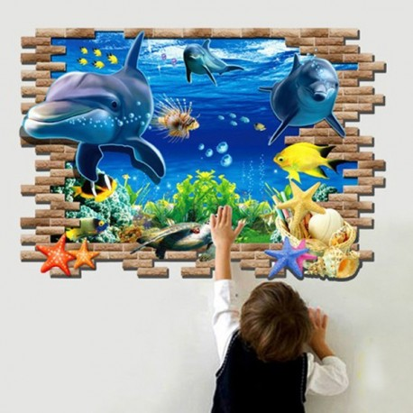 Sea World Dolphin 3D Removable Wall Sticker