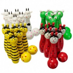 Bowling Ball Skittle Game Cute Wooden Animal Shape