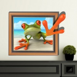 Cute Lovely Frog Wall Decals 3D