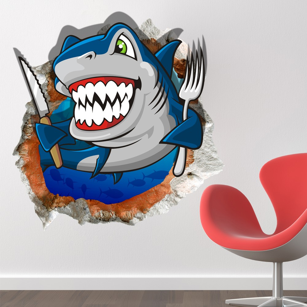 3D Room Cartoon Shark Ocean Sea Wall Decals   2045   3D. Part 31