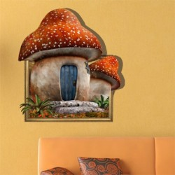 Cartoon Mushroom House 3D Wall Decal