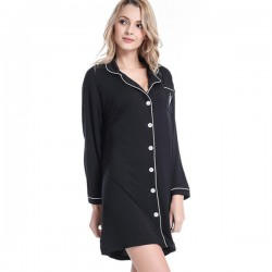 Women Embroidery Printing Modal Leisure Cozy Nighties Sleepshirts Lounge Wear